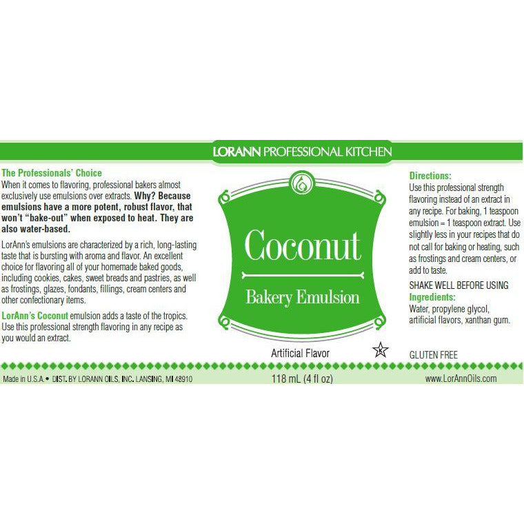 LorAnn Oils Coconut, Bakery Emulsion   - 4 OZ