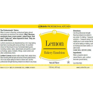 LorAnn Oils Lemon (Natural), Bakery Emulsion   - 4 OZ