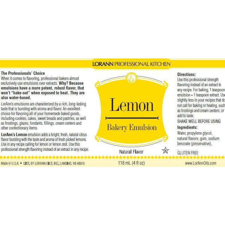 LorAnn Oils Lemon (Natural), Bakery Emulsion   - 16 OZ