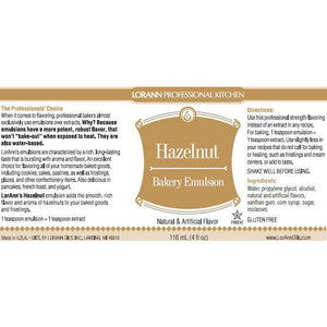 LorAnn Oils Hazelnut, Bakery Emulsion   - 4 OZ