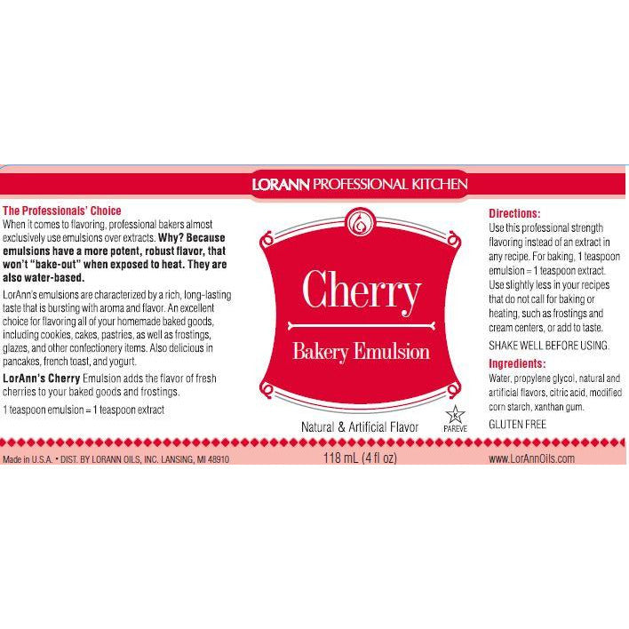 LorAnn Oils Cherry, Bakery Emulsion - 4 OZ