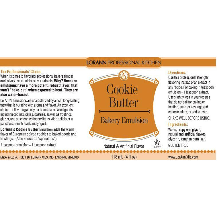 LorAnn Oils Cookie Butter, Bakery Emulsion - 4 OZ