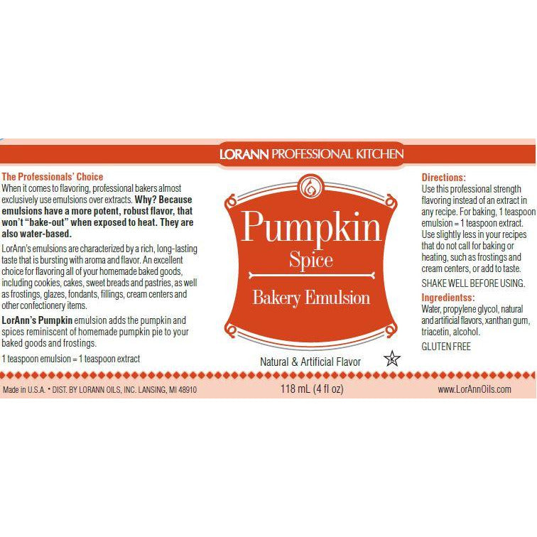 LorAnn Oils Pumpkin Spice, Bakery Emulsion   - 4 OZ
