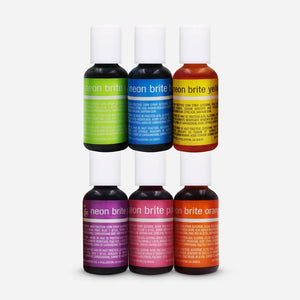Chefmaster LIQUA-GEL® 6 Color Neon Kit Food Coloring (# 13430) 0.70 OZ (20 ml)