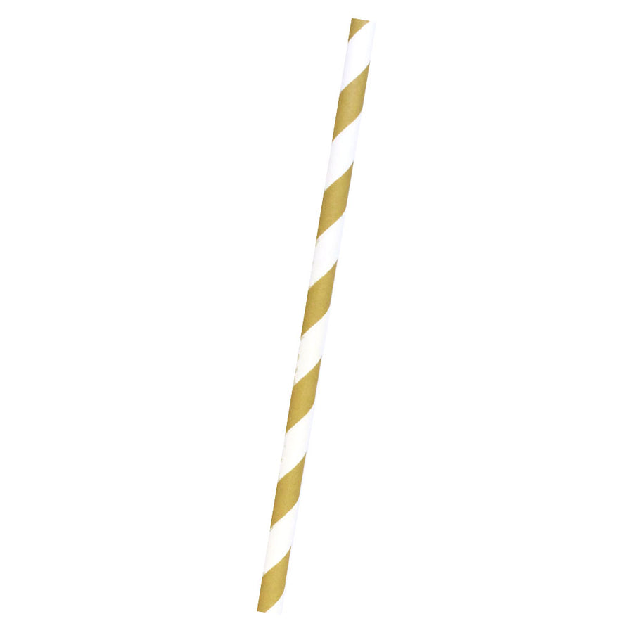 Gold Strips Paper Straws, Pkg of 25