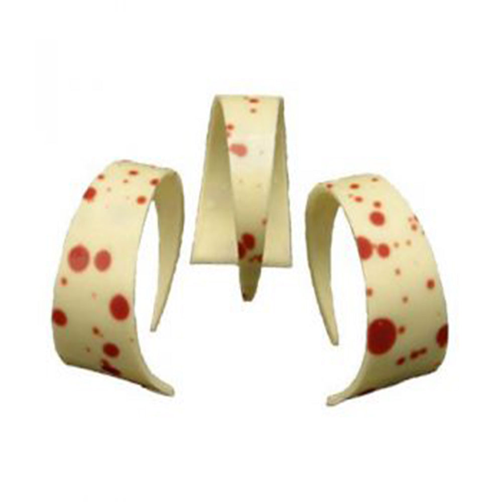 Curled Point Red Spotted White Chocolate Decoration