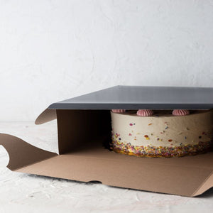 "Black Film Laminated Cake Boxes  8"" x 8"" x 5"" / 100 pack"