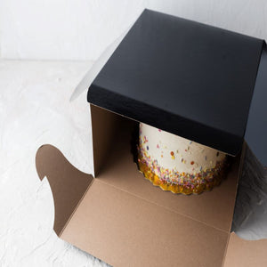 "Black Film Laminated Cake Boxes  12"" x 12"" x 6"" / 50 pack"