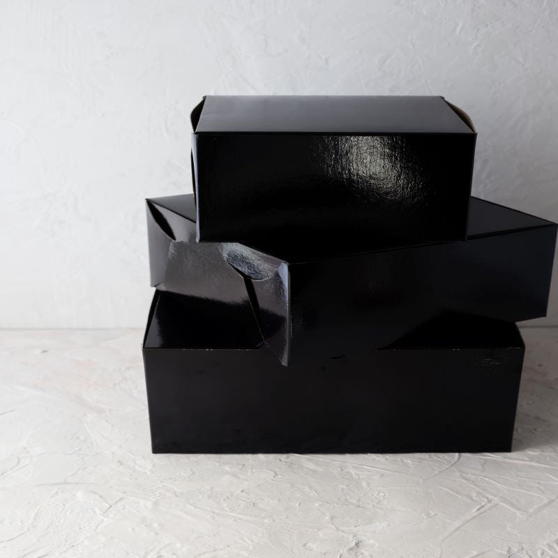 "Black Film Laminated Cake Boxes  10"" x 10"" x 5"" / 100 pack"
