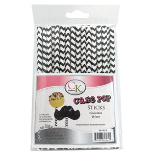"Black Chevron 6"" Cake Pop Sticks"