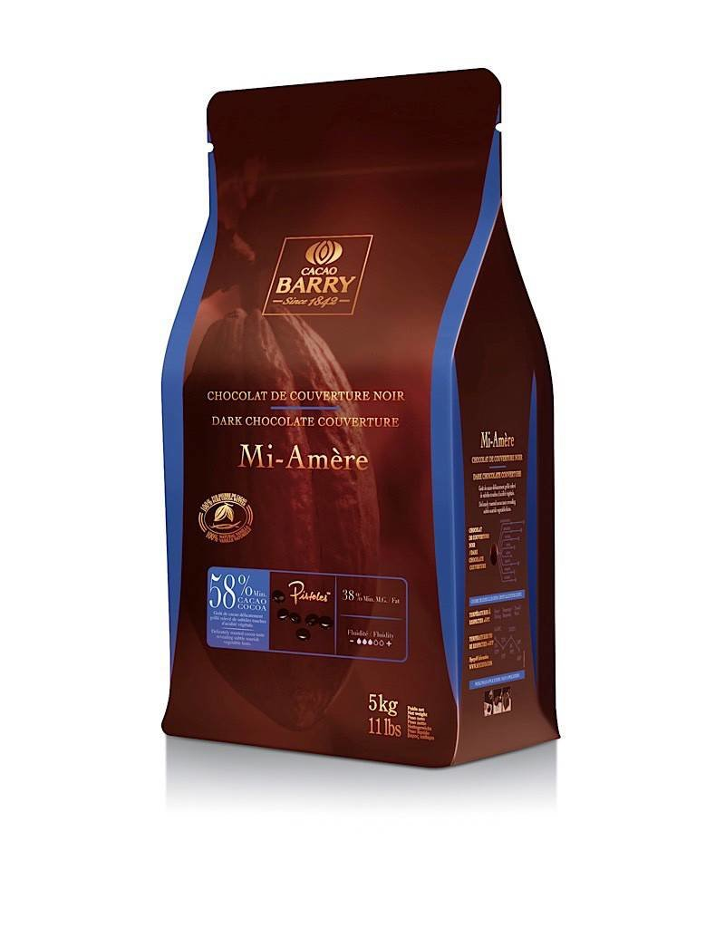 Cacao Barry Mi-Amere Semi Sweet  Pistoles  58% 5 kg