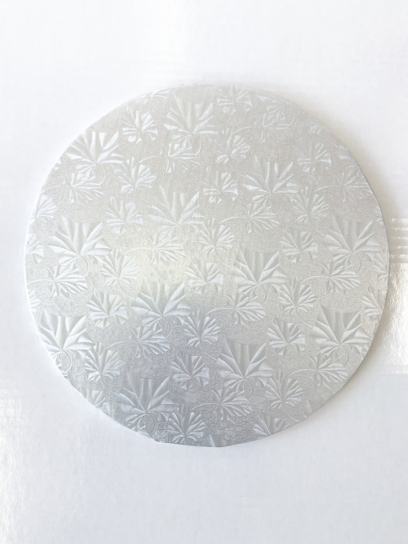 "8"" Round Silver Drum / Cake Board Embossed 1/2"" x 12 pcs"