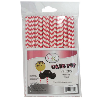 "Red Chevron 6"" Cake Pop Sticks package of 25"