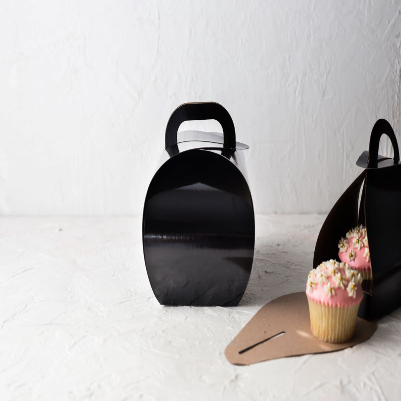 "Black Tulip Cup Cake Boxes Single 4"" x 4"" / 100 pack with matching cupcake insert"
