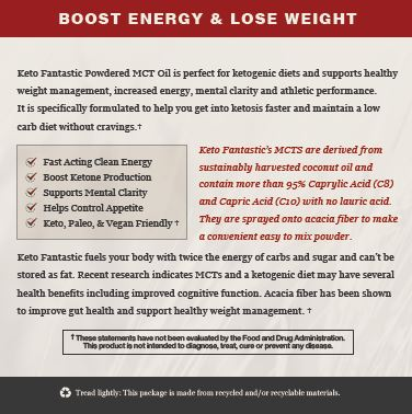 Keto Fantastic! - Powdered MCT Oil with Acacia Fiber - Unflavored, 600g - 60 servings