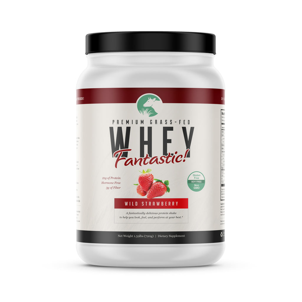 Whey Fantastic! - Strawberry - All Natural Grass Fed Whey Protein  - 1.6lb - 20 servings