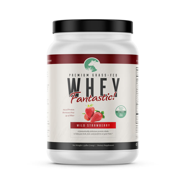 Whey Fantastic! - Strawberry - All Natural Grass Fed Whey Protein - Undenatured, Non GMO, Gluten Free - 720g - 20 servings