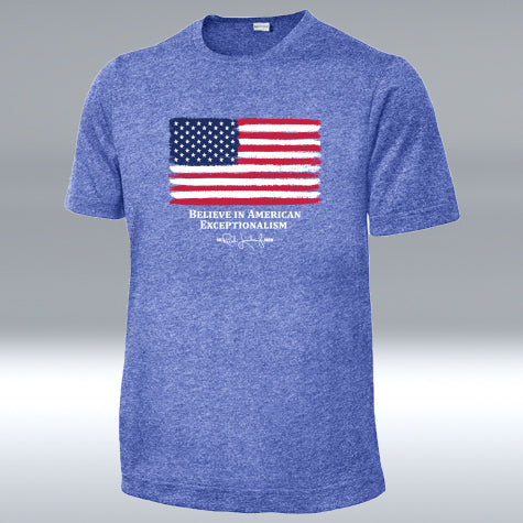 "Believe American Flag ""T"" Royal Blue Heather"