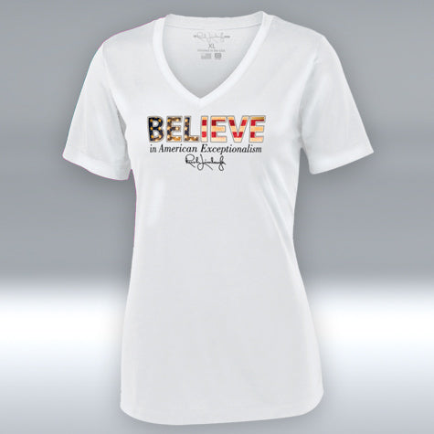 "Believe in American Exceptionalism Ladies V-Neck ""T"" White"