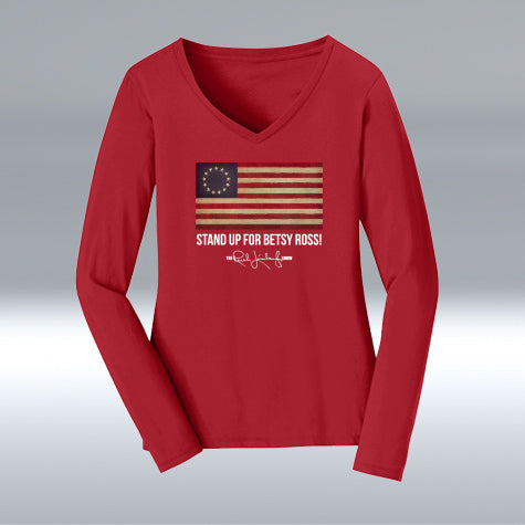 Ladies Betsy Ross 100% Cotton V-neck Long Sleeve, Cardinal Red