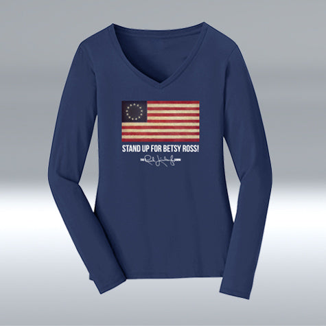 Ladies Betsy Ross 100% Cotton V-neck Long Sleeve, Navy