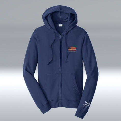 Betsy Ross Full-Zip Hooded Sweatshirt, Navy