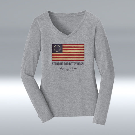 Ladies Betsy Ross Cotton Long Sleeve, Heather Grey
