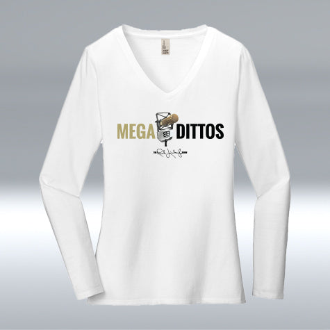 Ladies Mega Dittos 100% Cotton V-neck Long Sleeve, White