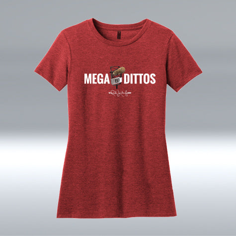 Ladies Mega Dittos Blend T-shirt, Heather Red