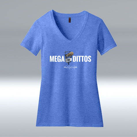 Ladies Mega Dittos Blend V-neck T-shirt, Heather Royal