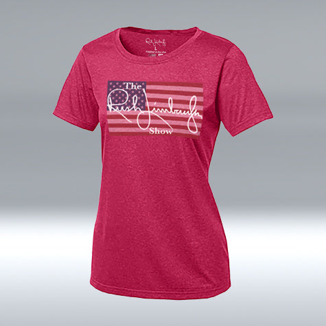 "The Rush Limbaugh Show Ladies ""T"" Pink Raspberry Heather"
