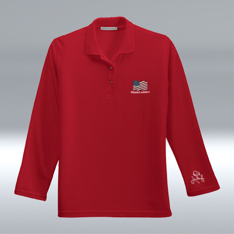 Ladies Preserve America Long Sleeve Polo, Red