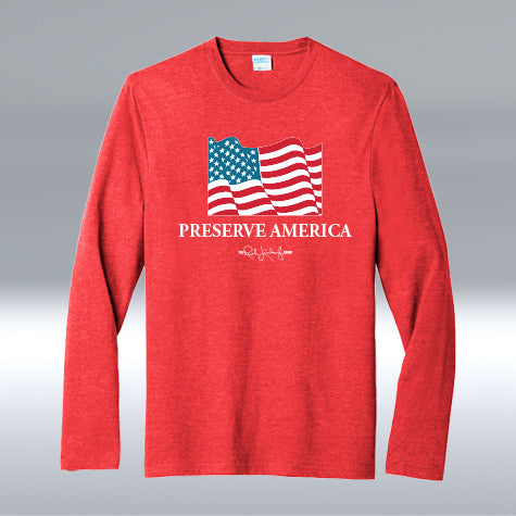 Preserve America Long Sleeve, Heather Red
