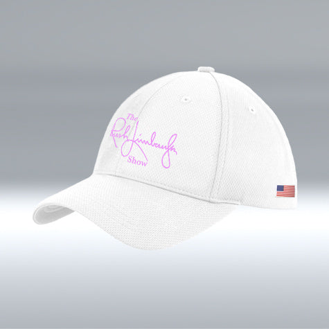 Rush Limbaugh Show Hat, New Era, White/Pink