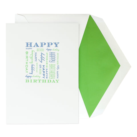 Happy Birthday in Royal Blue & Kiwi with Green Liner