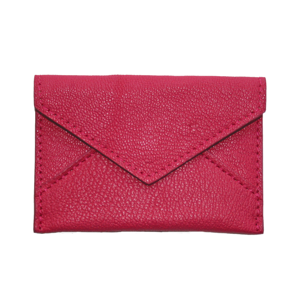 Mini Leather Envelope in Cerise