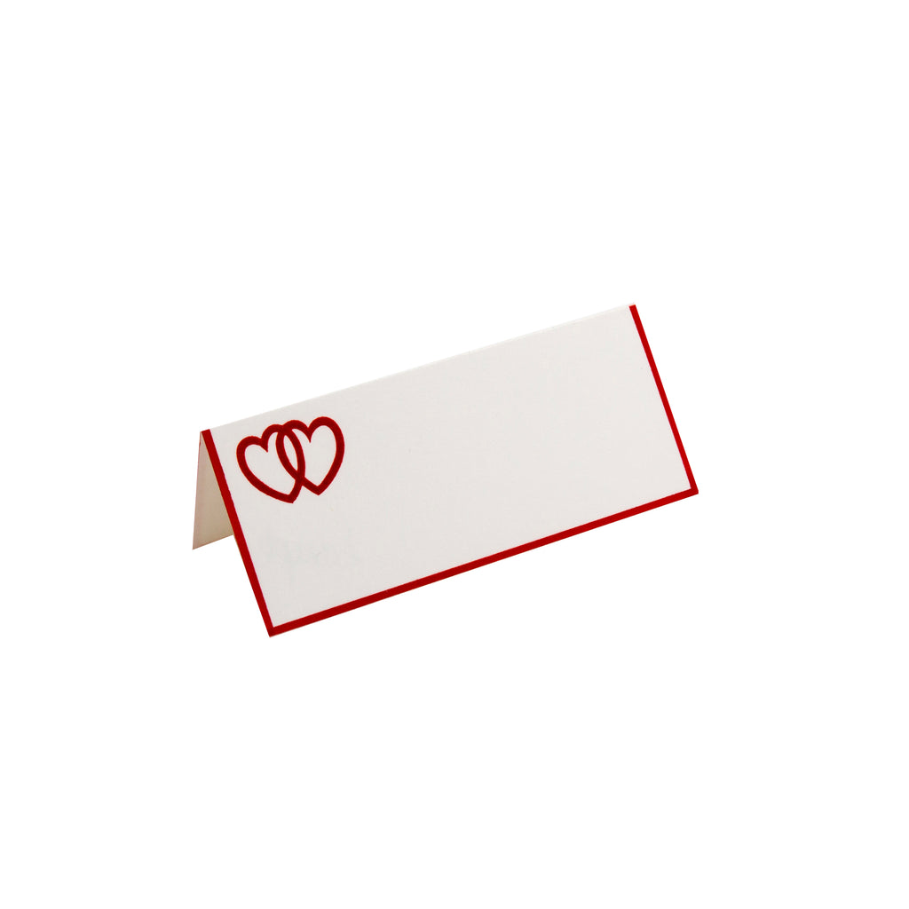 DOUBLE RED HEART FOLDOVER PLACE CARD WITH RED BORDER
