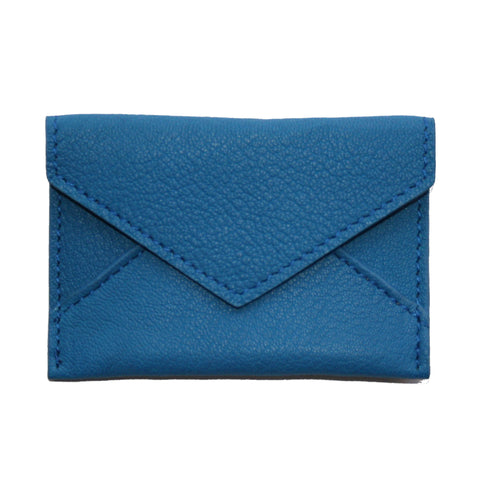 Mini Leather Envelope in Peacock