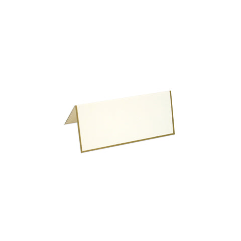 White Foldover Place Card with Gold Border