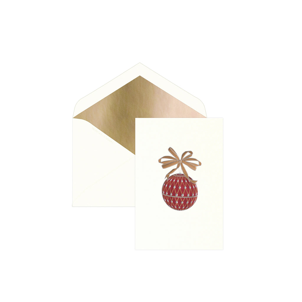 Burgundy Ornament with Greeting