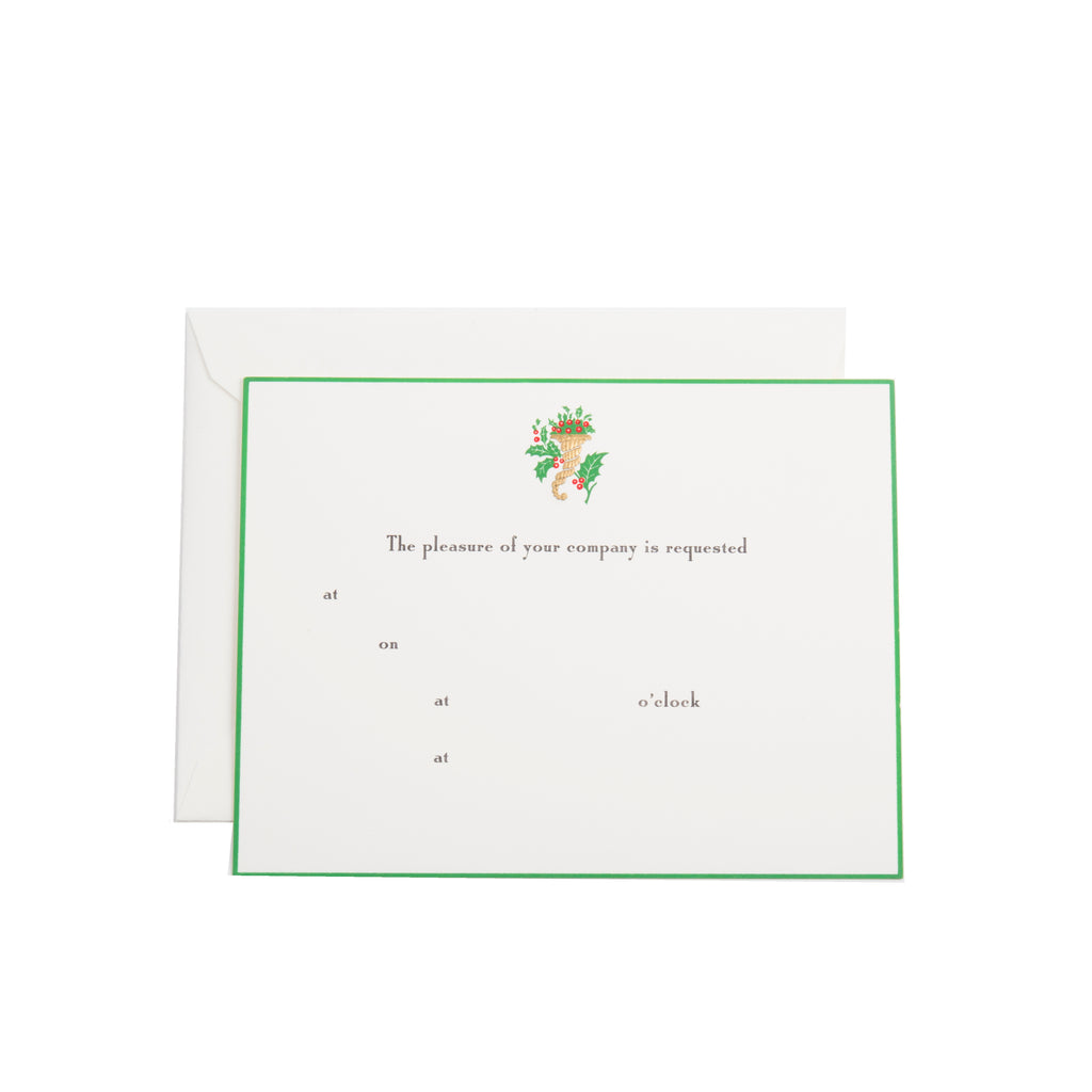 GREEN HOLIDAY CORNUCOPIA FILL-IN INVITATION