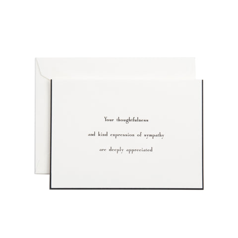 YOUR THOUGHTFULNESS AND KIND EXPRESSION SYMPATHY INFORMALS WITH BLACK BORDER