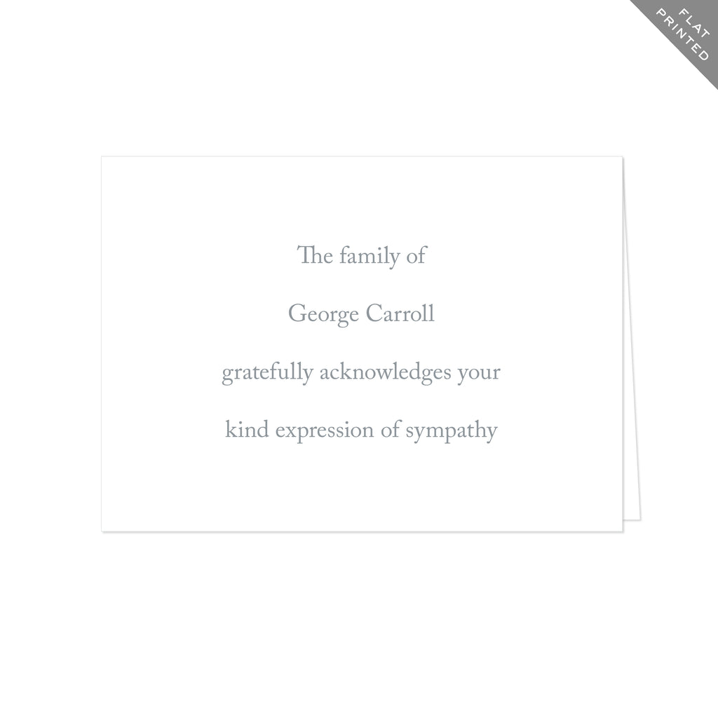 BASIC BESPOKE SYMPATHY ACKNOWLEDGEMENT: CASLON FLAT PRINTED
