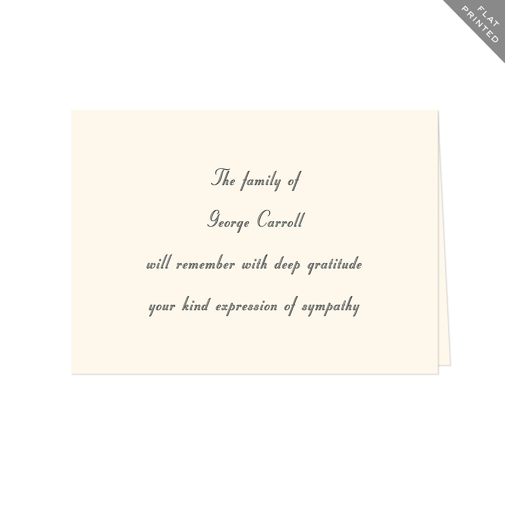 BASIC BESPOKE SYMPATHY ACKNOWLEDGEMENT: STUYVESANT FLAT PRINTED
