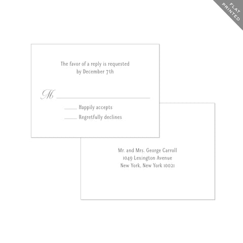 BASIC BESPOKE WEDDING RSVP CARD: CLASSIC ELEGANCE FLAT PRINTED