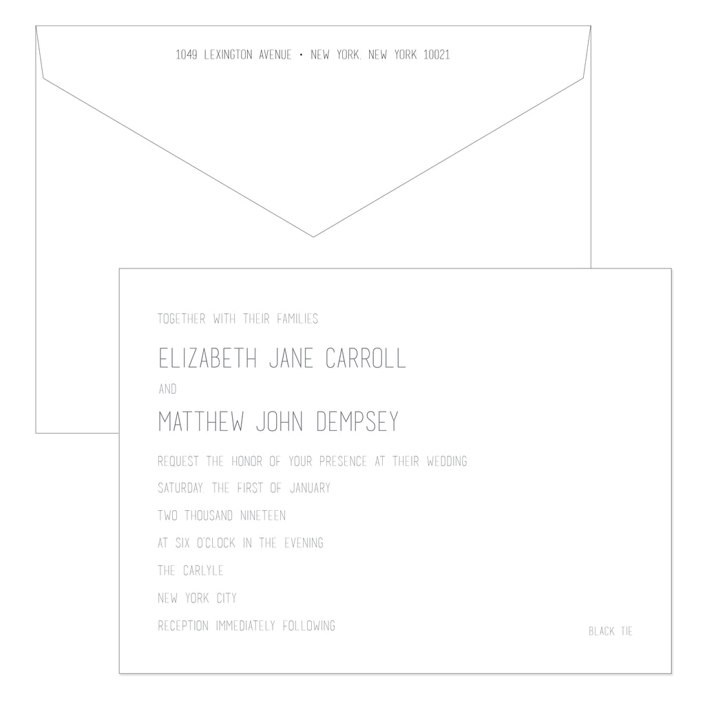 BASIC BESPOKE WEDDING INVITATION: CLEAN & MODERN ENGRAVED