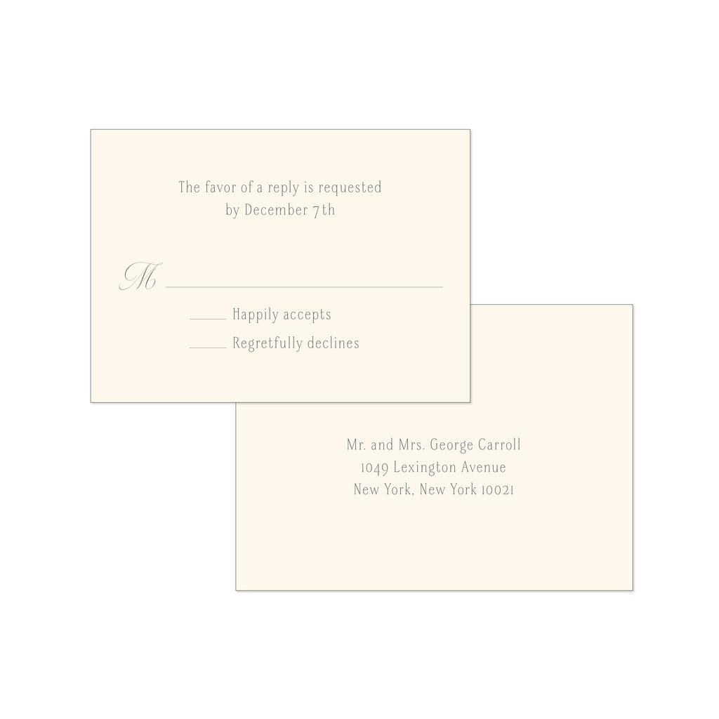 BASIC BESPOKE WEDDING RSVP CARD: CLASSIC ELEGANCE ENGRAVED