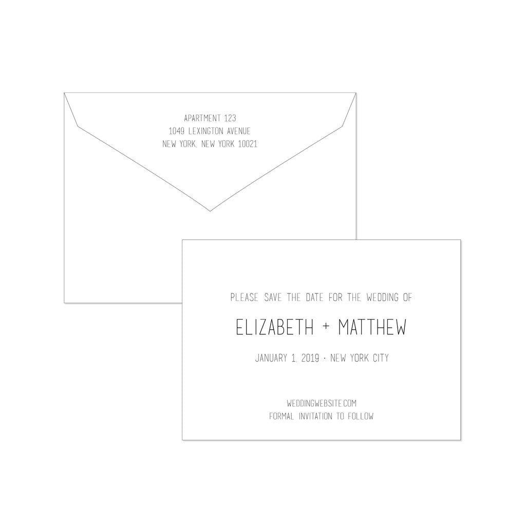 BASIC BESPOKE SAVE THE DATE: CLEAN & MODERN ENGRAVED
