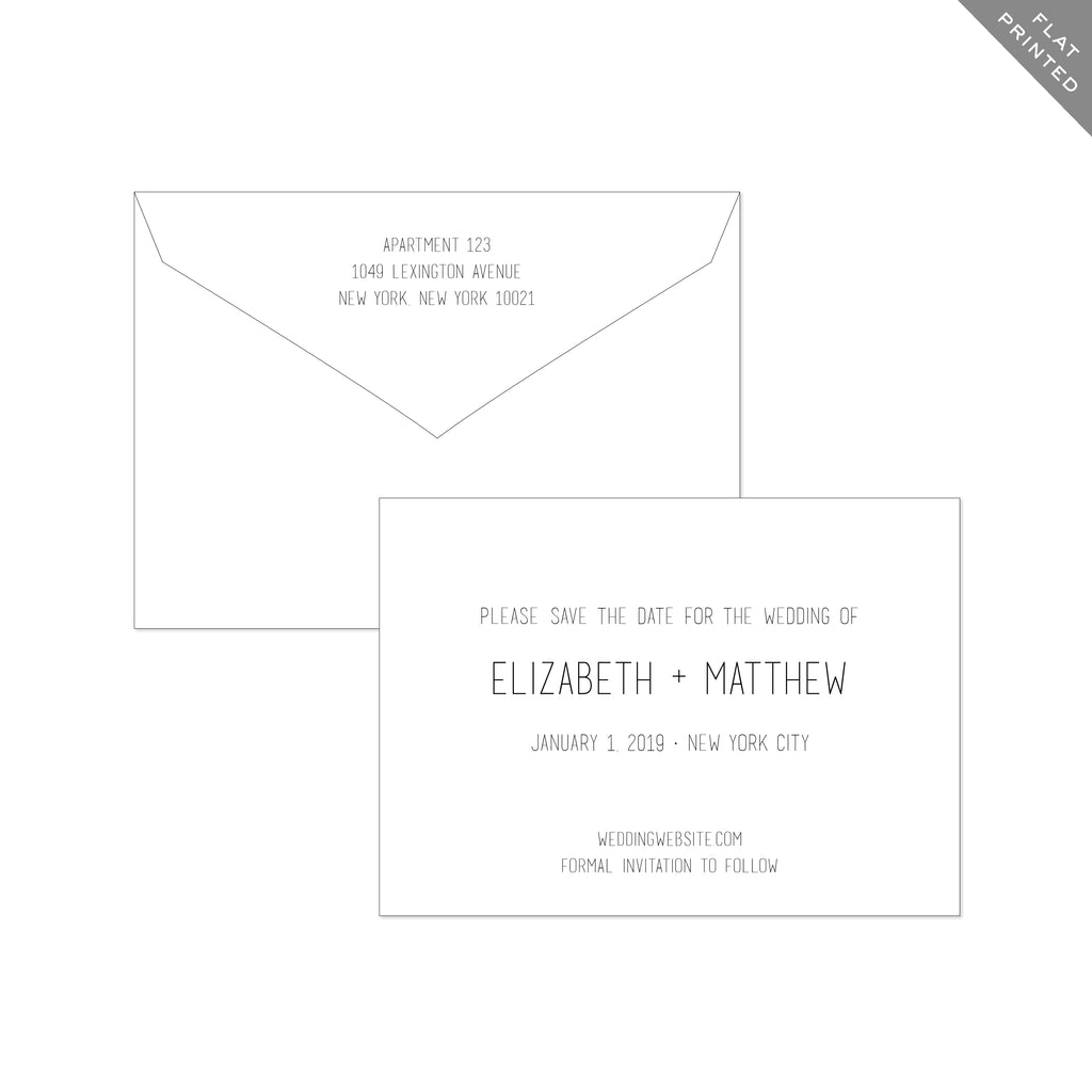 BASIC BESPOKE SAVE THE DATE: CLEAN & MODERN FLAT PRINTED