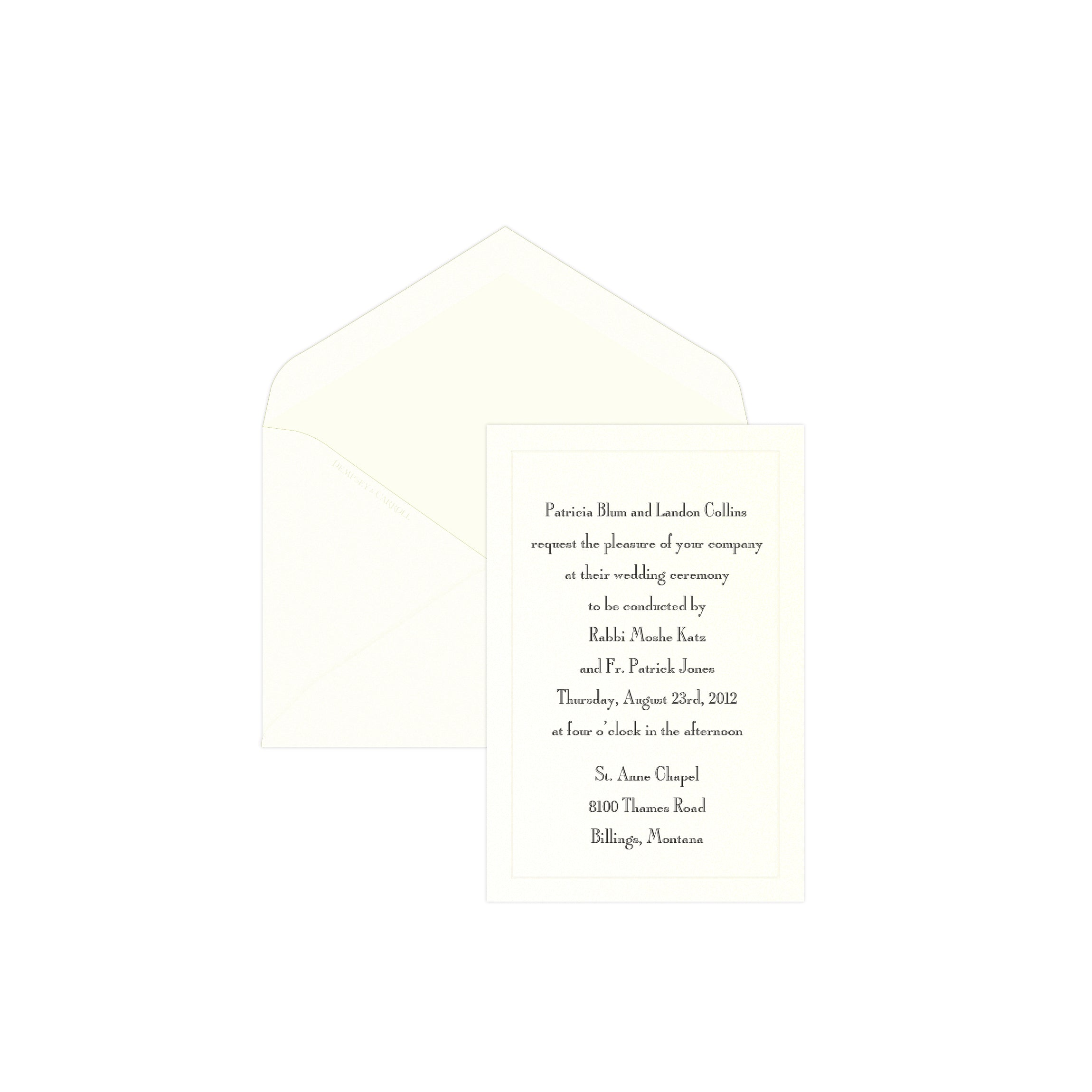 TRADITIONAL WEDDING INVITATION Dempsey Carroll